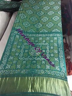 Bandhani Saree Gaji Silk In Green