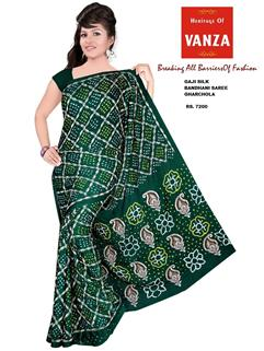 Bandhani Saree Gaji In Green Cross Checks