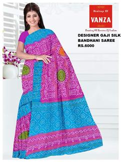 Bandhani Saree Gaji Fancy Design Morpich And Pink