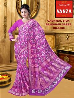 BANDHANI SAREE IN GADHWAL SILK