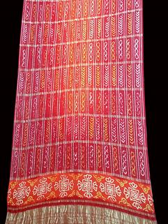Designer Gaji Silk Bandhani Saree Orange