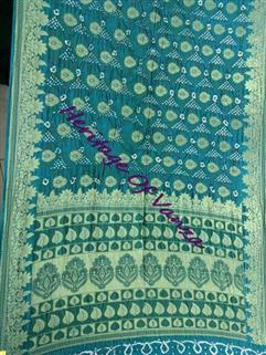 Bandhani Saree In Silk  Fancy Design Rama
