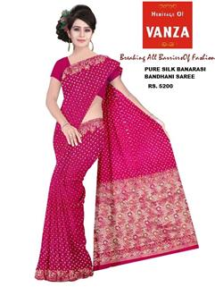 Bandhani Saree In Silk 1 Dano Design Pink