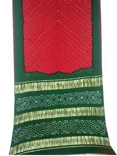 Bandhani Saree Gaji Silk In Red And Green