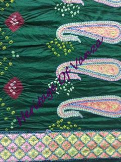 Bandhani Saree In Dupion Silk  Fancy Design Green