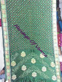 Bandhani Saree In Dupion Silk  Fancy Designer Green