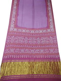 Bandhani Saree Gaji Silk In Baby Pink