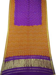 Bandhani Saree Gaji Silk In Musted And Purple