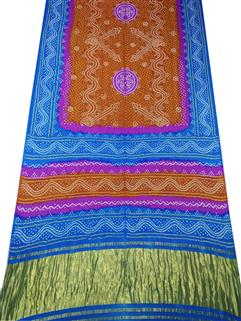 Bandhani Saree Gaji Silk In Blue And Musted