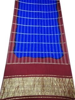 Bandhani Saree Gaji Silk Red N Blue