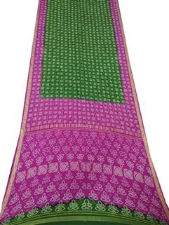 Bandhani Saree In Real Zari Crape Silk Pink and Green