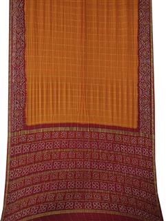 Bandhani Saree In Real Zari Crape Silk Red and Orange