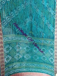 Bandhani Saree In Dupion Silk Fancy Rama Green