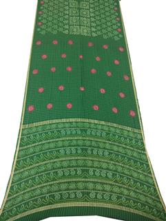 Bandhani Saree In Georgette Real Zari Green