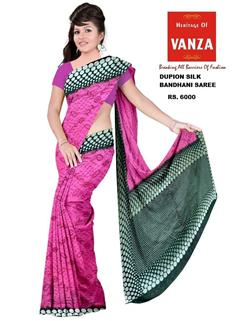 Bandhani Saree Dupion Silk  Fancy Designer Green And Dark Pink