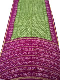 Bandhani Saree In Real Zari Cape Pink And Green