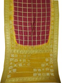 Bandhani Saree In Real Zari Silk Yellow And Red