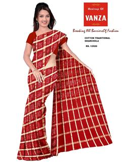 Bandhani Cotton Gharchola Traditional Red