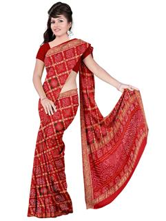 Bandhani Gharchola Cotton Traditional Red