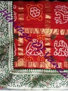 Bandhani Gharchola Cotton Traditional Bd Red