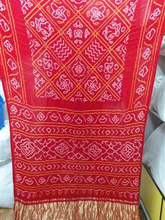 Bandhani Saree Gaji Silk in Red 1