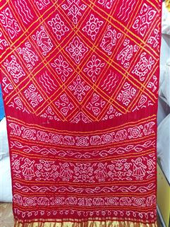 Bandhani Saree Gaji Silk in Red 2