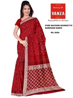 Bandhani Saree In Maysori Georgette Red