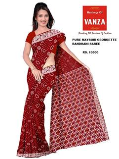 Bandhani Saree In Maysori Georgette Red 3