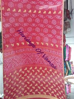 Bandhani Saree In Maysori Georgette Red 4